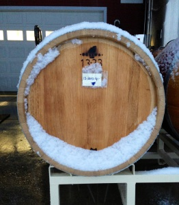 Barrel of 2013 Cabernet Franc waiting, in the snow, to be racked.
